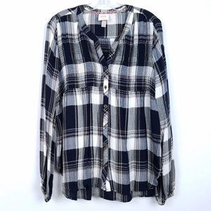 KNOX ROSE Soft Plaid Long Sleev Button Front Shirt